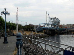 Looking back, a view of our hard-working blue bridge; still in service while it's replacement is being built beside it.