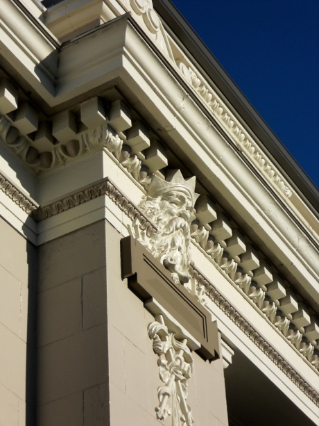 Detail of the Steamship Terminal building, designed by Francis Rattenbury and built in 1924; Victoria BC Canada.