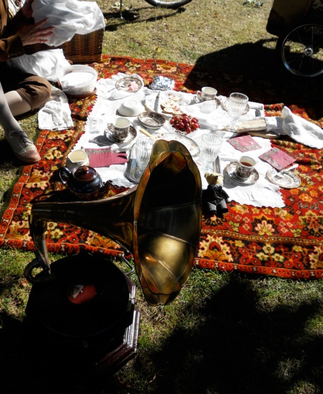 One of the especially nice picnics, gramophone and tweedy teddy included.