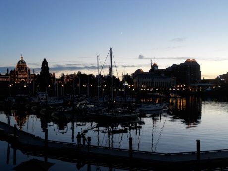 The Inner Harbour and a sliver of waxing moon.