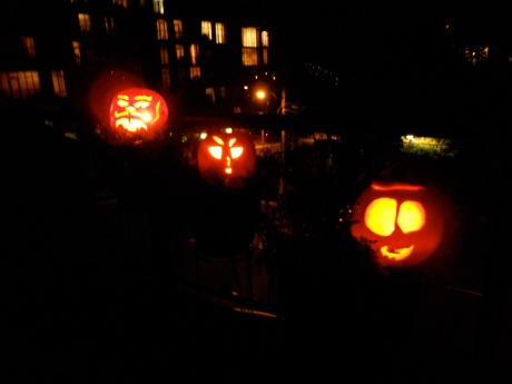 Billy cut the bottoms off the pumpkins instead of the tops so he could put them over his patio lights.