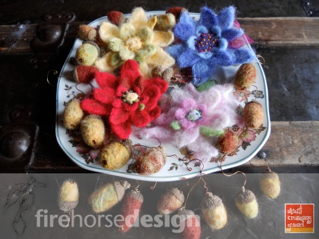 New felted items, flower pins and little acorns. © Firehorse Designs, 2014.