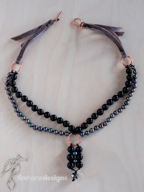 Black jasper, pearls, velvet and copper. © Firehorse Designs 2014