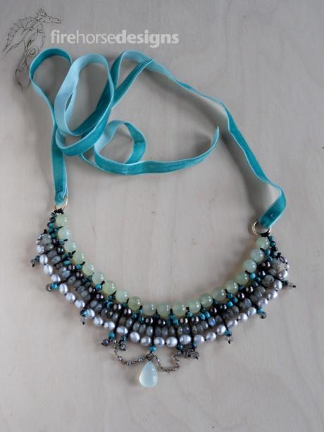 Jade, freshwater pearls, labradorite, brass, chalcedony and velvet. © Firehorse Designs 2015.