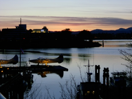 Looking out at the entrance to the Inner Harbour near the Inn at Laurel Point, Victoria BC.