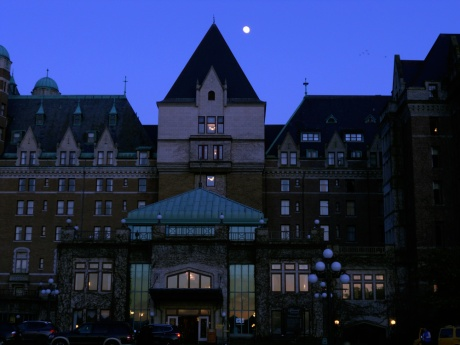 Moonrise over The Fairmont Empress Hotel, Victoria BC.