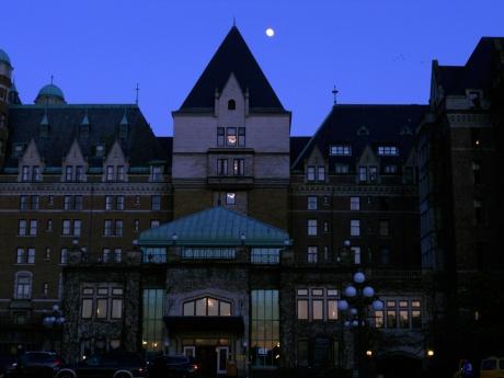 Moonrise over The Fairmont Empress Hotel, Victoria BC.