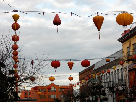 The 500 block of Fisgard Street, Victoria BC, decorated with new lanterns for the New Year.