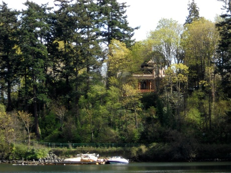 From the dock we daydreamed about this gorgeous house with a lovely big deck that overlooks the Gorge.