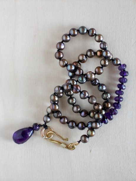 Amethyst and fresh-water pearls with brass.