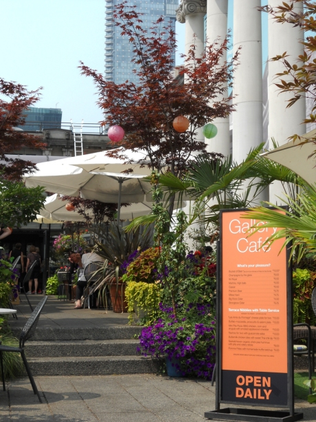 The patio at the Gallery Cafe, Vancouver Art Gallery.