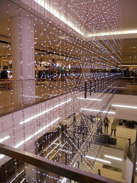 An interesting curtain of lights at Nordstrom.